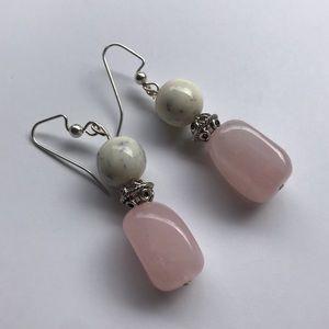 Handmade rose quartz earrings